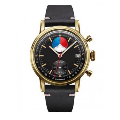 UNDONE URBAN Skipper メカクォーツ 腕時計 【 ゴールド PVDコーティング カーフレザー ブラック】