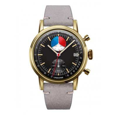 UNDONE URBAN Skipper メカクォーツ 腕時計 【 ゴールド PVDコーティング カーフレザー ライトグレー】