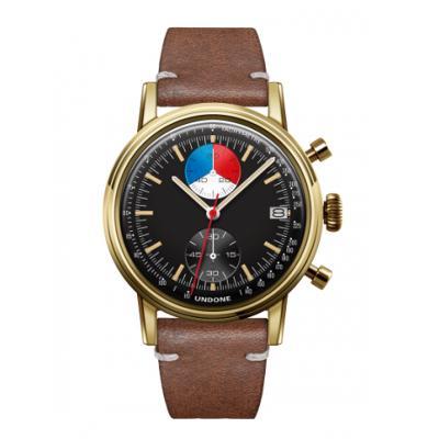 UNDONE URBAN Skipper メカクォーツ 腕時計 【 ゴールド PVDコーティング カーフレザー ブラウン】