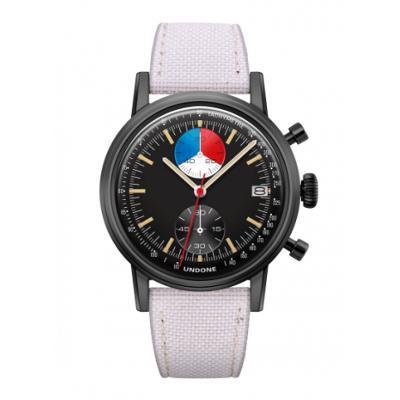 UNDONE URBAN Skipper メカクォーツ 腕時計 【 ブラック PVDコーティング コーデュラベルト  オフホワイト】