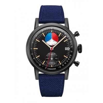 UNDONE URBAN Skipper メカクォーツ 腕時計 【 ブラック PVDコーティング コーデュラベルト  ネイビー】