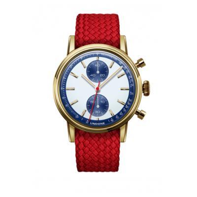 UNDONE URBAN SPEEDY Panda Blue メカクォーツ 腕時計 【 ゴールド PVDコーティング パーロンベルト レッド】