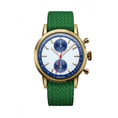 UNDONE URBAN SPEEDY Panda Blue メカクォーツ 腕時計 【 ゴールド PVDコーティング パーロンベルト グリーン】