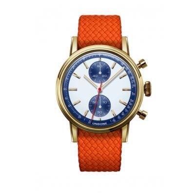 UNDONE URBAN SPEEDY Panda Blue メカクォーツ 腕時計 【 ゴールド PVDコーティング パーロンベルト オレンジ】