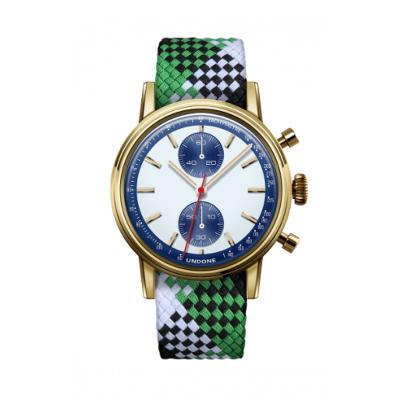 UNDONE URBAN SPEEDY Panda Blue メカクォーツ 腕時計 【 ゴールド PVDコーティング パーロンベルト グリーンブラックホワイト】