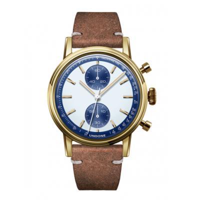 UNDONE URBAN SPEEDY Panda Blue メカクォーツ 腕時計 【 ゴールド PVDコーティング カーフベルト ヴィンテージブラウン】
