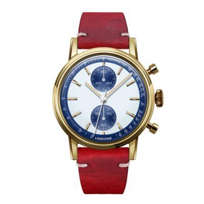 UNDONE URBAN SPEEDY Panda Blue メカクォーツ 腕時計 【 ゴールド PVDコーティング カーフベルト レッド】
