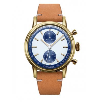 UNDONE URBAN SPEEDY Panda Blue メカクォーツ 腕時計 【 ゴールド PVDコーティング カーフベルト サンド】