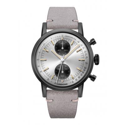 UNDONE URBAN SPEEDY Panda シルバー メカクォーツ 腕時計 【 ブラック PVDコーティング カーフベルト ライトグレー】