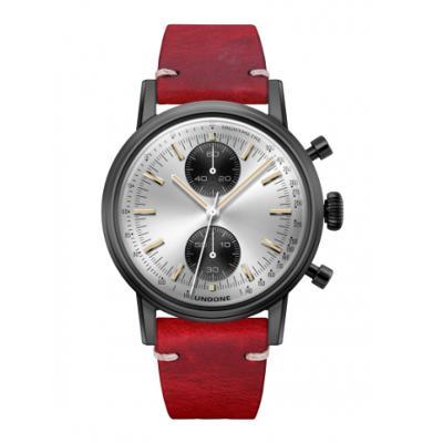 UNDONE URBAN SPEEDY Panda シルバー メカクォーツ 腕時計 【 ブラック PVDコーティング カーフベルト レッド】