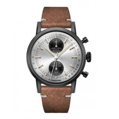 UNDONE URBAN SPEEDY Panda シルバー メカクォーツ 腕時計 【 ブラック PVDコーティング カーフベルト ヴィンテージブラウン】