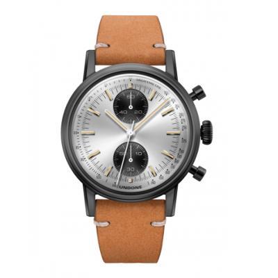 UNDONE URBAN SPEEDY Panda シルバー メカクォーツ 腕時計 【 ブラック PVDコーティング カーフベルト サンド】