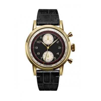 UNDONE URBAN NAVI 2.0 腕時計 【ゴールド PVD コーティング アリゲーター レザーベルト ブラック】
