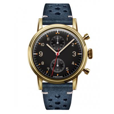 UNDONE Portu メカクォーツ 腕時計 【 ゴールドPVD コーティング ラリーベルト ブルー】