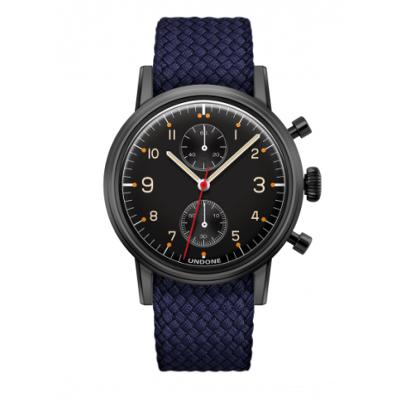 UNDONE Portu メカクォーツ 腕時計 【 ブラックPVD コーティング パーロンベルト ネイビー】