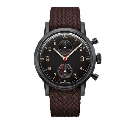 UNDONE Portu メカクォーツ 腕時計 【 ブラックPVD コーティング パーロンベルト ブラウン】