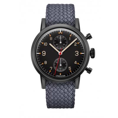 UNDONE Portu メカクォーツ 腕時計 【 ブラックPVD コーティング パーロンベルト グレー】