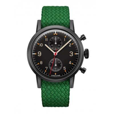 UNDONE Portu メカクォーツ 腕時計 【 ブラックPVD コーティング パーロンベルト グリーン】