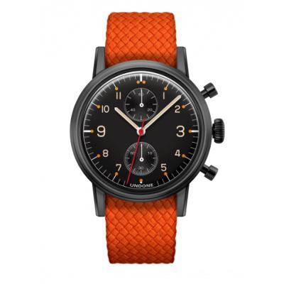 UNDONE Portu メカクォーツ 腕時計 【 ブラックPVD コーティング パーロンベルト オレンジ】