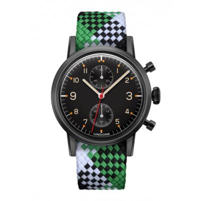 UNDONE Portu メカクォーツ 腕時計 【 ブラックPVD コーティング パーロンベルト グリーンブラックホワイト】