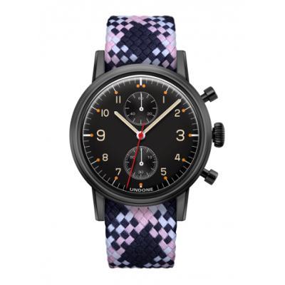 UNDONE Portu メカクォーツ 腕時計 【 ブラックPVD コーティング パーロンベルト ピンクネイビーホワイト】