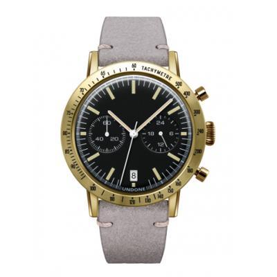 UNDONE URBAN TOROPICAL 腕時計 メカクォーツ Amazon Dial Sport Bezel Gold【ゴールドケース カーフ レザーライトグレー ベルト】