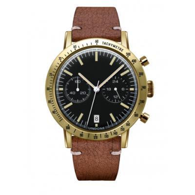 UNDONE URBAN TOROPICAL 腕時計 メカクォーツ Amazon Dial Sport Bezel Gold【ゴールドケース カーフ レザー ラフブラウン ベルト】