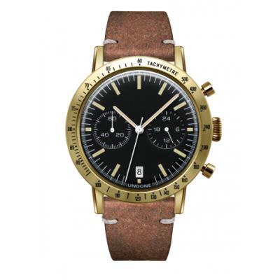 UNDONE URBAN TOROPICAL 腕時計 メカクォーツ Amazon Dial Sport Bezel Gold【ゴールドケース カーフ レザー ヴィンテージブラウン ベルト】
