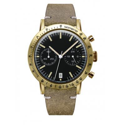 UNDONE URBAN TOROPICAL 腕時計 メカクォーツ Amazon Dial Sport Bezel Gold【ゴールドケース カーフ レザー ヴィンテージグリーン ベルト】