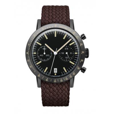 UNDONE URBAN TOROPICAL 腕時計 メカクォーツ Amazon Dial Sport Bezel Black【ブラックケース パーロン ベルト ブラウン】