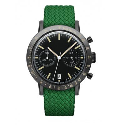 UNDONE URBAN TOROPICAL 腕時計 メカクォーツ Amazon Dial Sport Bezel Black【ブラックケース パーロン ベルト グリーン】