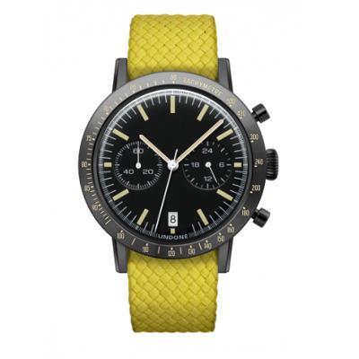 UNDONE URBAN TOROPICAL 腕時計 メカクォーツ Amazon Dial Sport Bezel Black【ブラックケース パーロン ベルト イエロー】