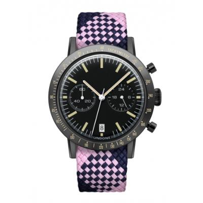 UNDONE URBAN TOROPICAL 腕時計 メカクォーツ Amazon Dial Sport Bezel Black【ブラックケース パーロン ベルト ピンク ネイビー】