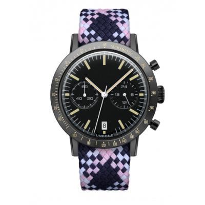 UNDONE URBAN TOROPICAL 腕時計 メカクォーツ Amazon Dial Sport Bezel Black【ブラックケース パーロン ベルト ピンク ネイビー ホワイト】