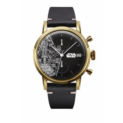 UNDONE スターウォーズ 腕時計 ミレニアムファルコン【 ゴールドケース カーフ ブラック】