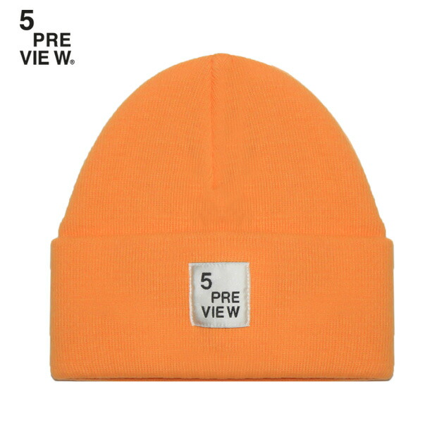 ☆BLACK FRIDAY special coupon ☆ 5PREVIEW (five preview) DOVER HAT  (CARMELIAN)  knit cap   beanie   rib   logo   patch  UNISEX   orange  ff060bcf1b9