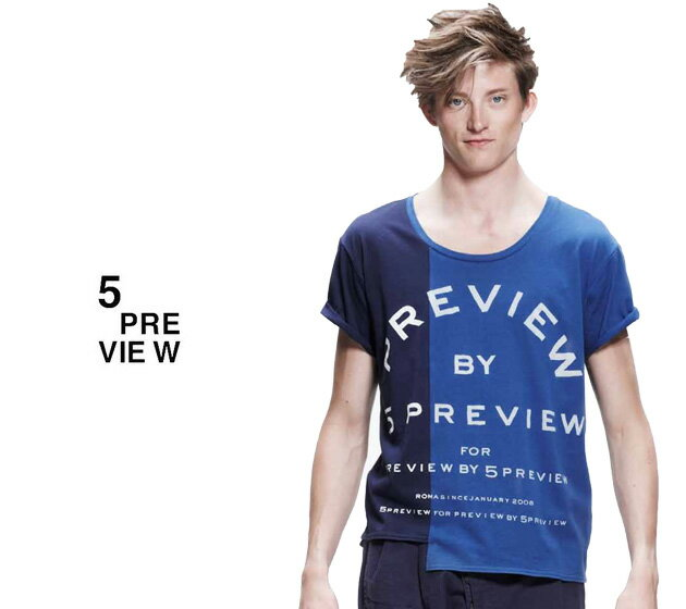 5PREVIEW 5PREVIEW (ファイブプレビュー) PREVIEW PREVIEW ASYMMETRICAL T-SHIRT (NAVY BLUE/INDIGO) BLUE/INDIGO) [Tシャツ/カットソー/アシンメトリー/グラフィック/ロゴ/UNISEX] [ネイビー ブルー/インディゴ], スグくる:a6300105 --- bpskiransolar.com