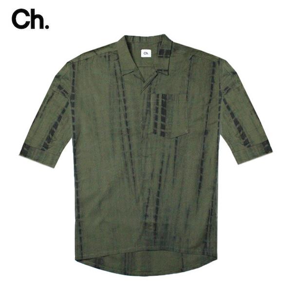 [期間限定 20%OFFクーポン] CHAPTER (チャプター) MITH WOVEN SHIRT (BLACK GREEN TIE DYE) [キューバシャツ/ボタン/ドレス/アロハ/開襟/五分袖/UNISEX] [ブラック グリーン タイダイ]