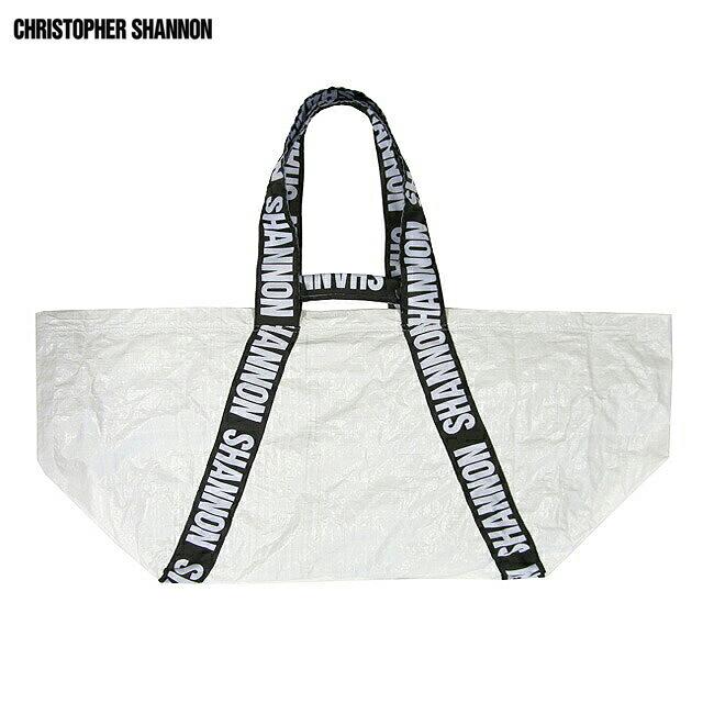 CHRISTOPHER SHANNON (クリストファー シャノン) CARRYALL BAG (WHITE) [ビッグトートバッグ/クラッチ/ナイロン/ロゴ/UNISEX] [ホワイト]