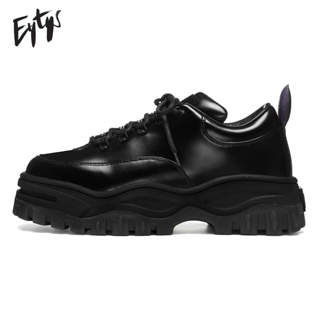 464c319f661 EYTYS (eighty) ANGEL LEATHER (BLACK)  mid top sneakers   leather   platform    shoes   thickness bottom  UNISEX   black