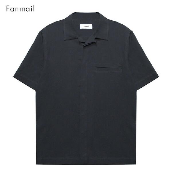 [期間限定 20%OFFクーポン] FANMAIL (ファンメール) UNIFORM SHIRT SS (BLACK CREPE) [キューバシャツ/ボタン/ドレス/アロハ/オーガニック/開襟/無地/UNISEX] [ブラック]