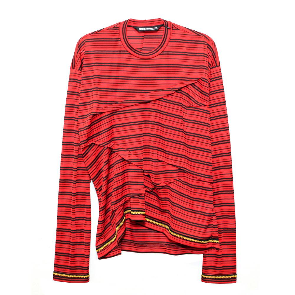 ポイント10倍 送料無料 ブランド買うならブランドオフ 正規取扱 あす楽 FOO AND 新品 送料無料 フー アンド SINCHED TEE Tシャツ レッド ロングスリーブ ブラック BLACK STRIPE メンズ ユニセックス RED