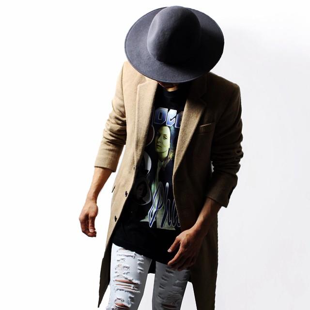 自由或死亡 (自由或死亡) 经典羊毛觉得帽子 (黑色) [帽子 / 宽边 /UNISEX] [黑色]