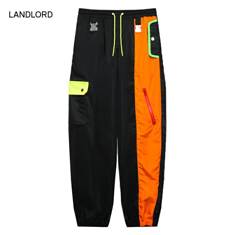 LANDLORD NEW YORK (ランドロード) SPACE COLONY TRACK PANTS (MULTI/BLACK) [トラックパンツ パラシュートパンツ メンズ ユニセックス] [マルチ/ブラック]
