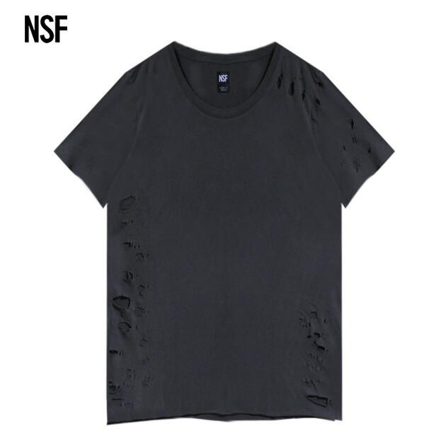 ポイント10倍 送料無料 正規取扱 あす楽 NSF ブランド品 CLOTHING エヌエスエフ PHILIPPE TEE 無地 DESTROY メンズ ブラック SUPER 今だけ限定15%OFFクーポン発行中 Tシャツ BLACK ユニセックス カットソー