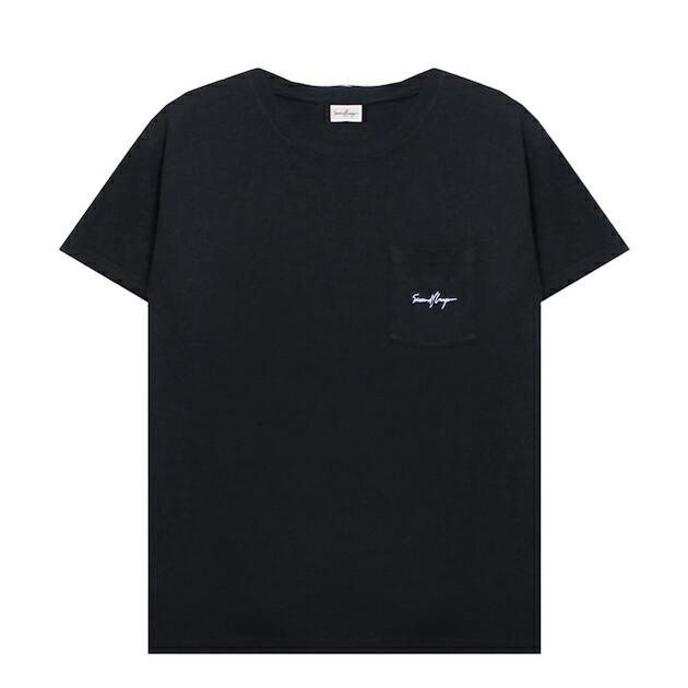 SECOND LAYER (セカンド レイヤー) SCRIPT LOGO POCKET T-SHIRT (BLACK) [Tシャツ カットソー トップス ブランド ワンポイント ポケット ロゴ ストリート サーフ スケート モード メンズ ユニセックス 半袖] [ブラック]