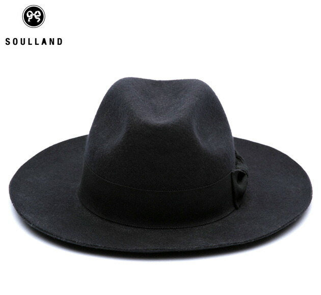[お買い物マラソン限定 30%OFFクーポン] SOULLAND (ソウルランド) BILLE FEDORA HAT (BLACK) [フェドラハット/ワイドブリム/ロング/ウールフェルト/中折れ/UNISEX] [ブラック]