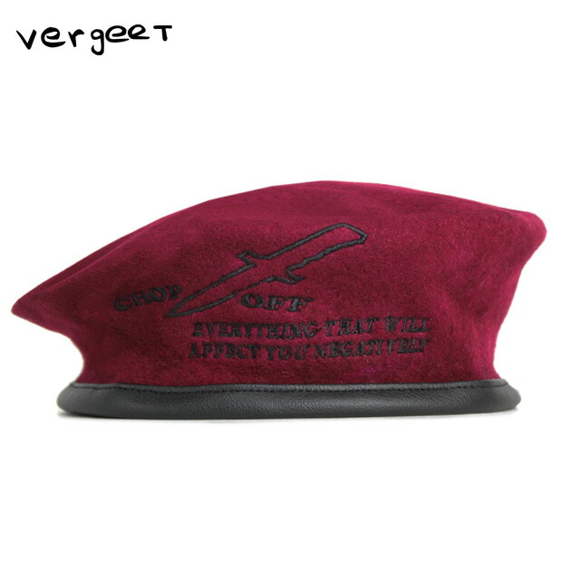 3080c649 VERGEET (フェルヘート) CHOP OFF BERET HAT (RED) [beret / army / military / graphic  / logo / embroidery /UNISEX] [red]