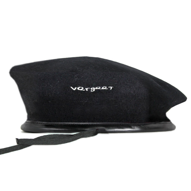 21057347e25 VERGEET (フェルヘート) CHOP OFF BERET HAT (BLACK)  beret   army   military    graphic   logo   embroidery  UNISEX   black
