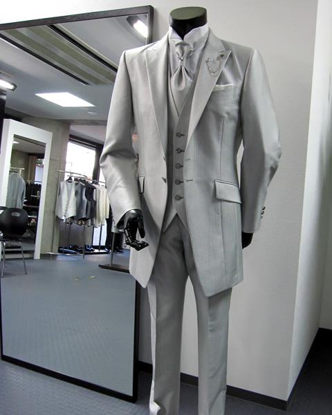 【オーダーメイド】タキシード 5点セット 結婚式 パーティ 披露宴 二次会 発表会 海外 フォーマル ピークドラペル グレー tuxedo04